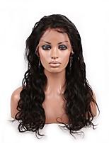 Mujer Pelucas de Cabello Natural Brasileño Cabello humano Encaje Frontal 130% Densidad Ondulado Grande Peluca Negro Azabache Negro Marrón