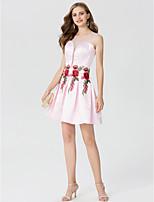 Trapèze Princesse Bijoux Courte / Mini Satin Soirée Cocktail Robe avec Appliques Plissé par TS Couture®
