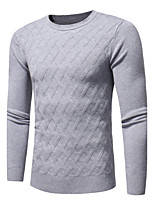 Men's Casual/Daily Simple Regular Pullover,Solid Plaid Round Neck Long Sleeves Polyester Fall Winter Medium Micro-elastic