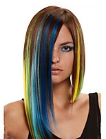 Women Synthetic Wig Capless Medium Straight Rainbow Highlighted/Balayage Hair Asymmetrical Haircut Party Wig Halloween Wig Cosplay Wigs