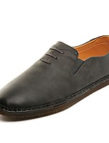 Men's Loafers & Slip-Ons Comfort Spring Fall PU Casual Lace-up Flat Heel Brown Gray Beige Flat