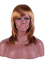 Mujer Sin Tapa Medio Liso Lino Pelo Ombre Entradas Naturales Con flequillo Peluca natural Peluca de fiesta Peluca de Halloween Las
