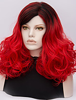 Mujer Pelucas sintéticas Sin Tapa Medio Produndo Rojo Pelo Ombre Peluca de Halloween Las pelucas del traje