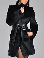 Для женщин На каждый день Большие размеры Зима Пальто с мехом Воротник-стойка,Простой Уличный стиль Однотонный Длинная Длинный рукав,