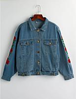 Feminino Jaqueta jeans Para Noite Simples Inverno,Estampado Padrão Algodão Colarinho de Camisa Manga Longa