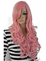 жен. Парики из искусственных волос Без шапочки-основы Длиный Кудрявые Розовый С чёлкой Парики для косплей Парик из натуральных волос
