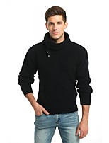 Men's Going out Casual/Daily Simple Street chic Regular Pullover,Solid Turtleneck Long Sleeves Wool Polyester Fall Winter Thick Stretchy