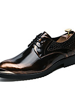 Men's Shoes Leather Fall Winter Formal Shoes Oxfords Lace-up For Wedding Party & Evening Gold Black Silver