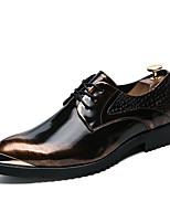 Для мужчин обувь Кожа Осень Зима Формальная обувь Туфли на шнуровке Шнуровка Назначение Свадьба Для вечеринки / ужина Золотой Черный