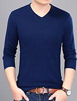 Herren Kurz Pullover-Sport Ausgehen Übergröße Einfach Solide V-Ausschnitt Langarm Wolle Baumwolle Andere Frühling Herbst Dünn Dehnbar