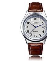 Муж. Механические часы С автоподзаводом Крупный циферблат Кожа Группа Винтаж Черный Коричневый