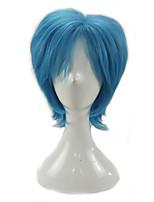 Hombre Pelucas sintéticas Sin Tapa Corto Rizado Azul Real Raya en medio Corte a capas Peluca de cosplay Peluca de fiesta Las pelucas del