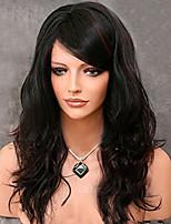 Mujer Pelucas sintéticas Sin Tapa Medio Ondulado Vino negro / oscuro Parte lateral Peluca afroamericana Con flequillo Peluca natural Las