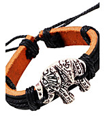 Men's Leather Bracelet Vintage Adjustable Leather Alloy Elephant Jewelry For Casual Stage