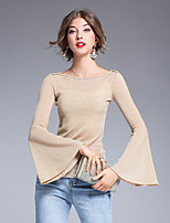 8CFAMILY Women's Party Going out Casual/Daily Sexy Street chic Sophisticated Fall Winter T-shirt,Solid Boat Neck Long Sleeves Polyester Nylon