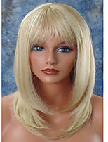 Women Synthetic Wig Capless Medium Straight Blonde Natural Hairline Layered Haircut With Bangs Celebrity Wig Halloween Wig Natural Wigs