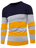 Men's Going out Casual/Daily Simple Short Pullover,Striped Crew Neck Long Sleeves Polyester Fall Winter Medium Micro-elastic