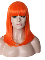 Mujer Pelucas sintéticas Sin Tapa Medio Largo Liso Naranja Entradas Naturales Peluca afroamericana Corte a capas Peluca de Halloween