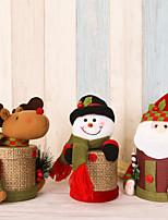 2pcs / lot jolie boîte de cadeau de lin boîte à bonbons de noel Santa Claus cerf noël décoration de Noël