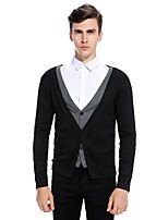 Men's Going out Casual/Daily Simple Cute Regular Cardigan,Solid Color Block V Neck Long Sleeves Cotton Rayon Fall Winter Medium