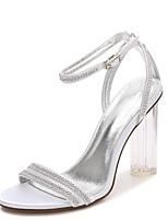 Для женщин Свадебная обувь С ремешком на лодыжке Прозрачный обуви С Т-образной перепонкой Туфли лодочки Весна Лето Сатин Свадьба Для