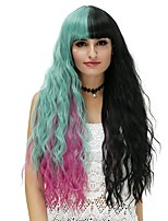 Mujer Pelucas sintéticas Sin Tapa Largo Marino Negro / Rosa / Verde Peluca de Halloween Las pelucas del traje