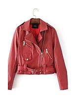 Для женщин На каждый день На выход Весна Осень Кожаные куртки Лацкан с тупым углом,Простой Уличный стиль Однотонный Обычная Длинный рукав,