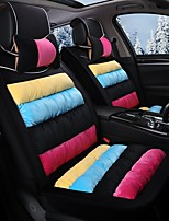 Rainbow Striped Plush Car Seat Cushion Material Winter Seat Cover Surrounded By AFive Seat-Black