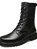 Men's Shoes Real Leather Cowhide Nappa Leather Fall Winter Fashion Boots Motorcycle Boots Combat Boots Boots Mid-Calf Boots Lace-up For