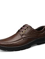 Men's Wedding Shoes Comfort Fall Winter Real Leather Wedding Casual Lace-up Flat Heel Khaki Dark Brown Brown Flat