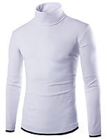 Men's Casual/Daily Simple Regular Pullover,Color Block Turtleneck Long Sleeves Polyester Fall Medium Micro-elastic