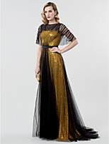 A-Line Princess Bateau Neck Sweep / Brush Train Tulle Sequined Formal Evening Dress with Sash / Ribbon Sequins by TS Couture®
