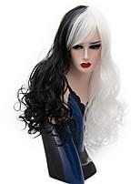 Femme Perruque Synthétique Sans bonnet Long Ondulation profonde Noir blanc Perruque Halloween Perruque Déguisement