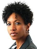 жен. Парики из искусственных волос Без шапочки-основы Короткий Kinky Curly Афро Черный Парик в афро-американском стиле Парики для косплей