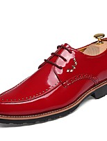 Men's Oxfords Driving Shoes Comfort Spring Fall Synthetic Microfiber PU Casual Party & Evening Lace-up Flat Heel Chunky Heel Blue Red