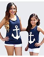 Girls' Print Tee,Cotton Summer Sleeveless Regular