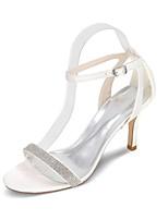 Women's Wedding Shoes Slingback Toe Ring Spring Summer Satin Wedding Party & Evening Rhinestone Stiletto Heel Ivory Champagne Blue Red