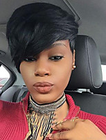 Mujer Pelucas sintéticas Sin Tapa Corto Liso Negro Azabache Para mujeres de color Con flequillo Peluca natural Pelucas para Disfraz