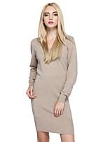 Trapèze Robe Femme Sortie Décontracté / Quotidien simple Chic de Rue,Couleur Pleine Col en V Au dessus du genou Manches Longues Coton