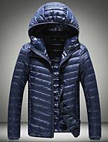 Пальто Простое Обычная Пуховик Для мужчин,Однотонный На каждый день Большие размеры Хлопок Полиэстер Пух белой утки,Длинный рукав