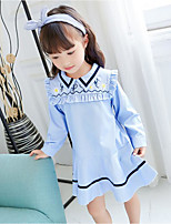 Girl's Solid Dress,Cotton Polyester Spring Fall Long Sleeve