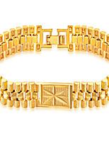 Homens Para Meninos Pulseiras em Correntes e Ligações Pulseira Jóias Moda Hip-Hop Aço Inoxidável Chapeado Dourado Forma Geométrica Jóias