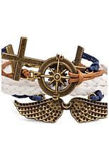 Men's Women's Wrap Bracelet Leather Bracelet Bracelet Jewelry Punk Adjustable Cross Rock PU Alloy Cross Wings / Feather Jewelry For