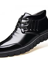 Masculino Oxfords Conforto Sapatos formais Forro de peles Forro de fluff Outono Inverno Pele Real Couro Casual Cadarço Rasteiro Preto
