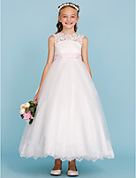 Ball Gown Crew Neck Ankle Length Lace Tulle Junior Bridesmaid Dress with Appliques Bow(s) Sash / Ribbon by LAN TING BRIDE®