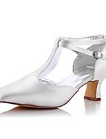 Mujer Zapatos de boda Confort Primavera Otoño Seda Boda Vestido Fiesta y Noche Tacón Robusto Marfil 5 - 7 cms