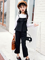 Girls' Patchwork Sets,Rayon Spring Fall Long Sleeve Clothing Set