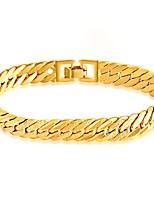 Homens Pulseiras em Correntes e Ligações Pulseira Jóias Moda Estilo simples Aço Inoxidável Chapeado Dourado Formato de Linha Jóias Para