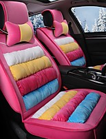 Rainbow Striped Plush Car Seat Cushion Material Winter Seat Cover Surrounded By AFive Seat-Pink