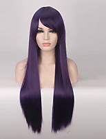 Women Synthetic Wig Capless Long Straight Purple Cosplay Wigs Costume Wig